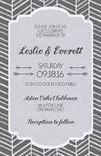 Wedding Invitations Herringbone Rustic 50 Invitations & RSVP Cards Any Colors