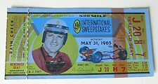 1965 INDY 500 A J FOYT ADMISSION TICKET 49th INTERNATIONAL SWEEPSTAKES