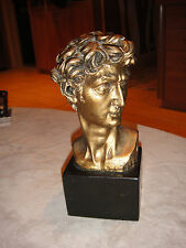 David Michelangelo Head Bust Statue Figurine Faux Bronze