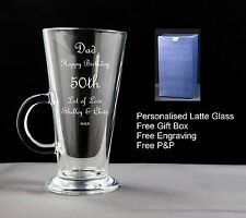 Personalised Latte Coffee Glass Birthday Gift 18th 21st 30th 40th 50th 60th 70th