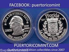 Silver PESETA FLORIDA  2009 Puerto Rico Boricua Quarter 1/100 Plata