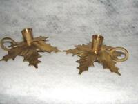 Pair Brass Holly Leaf Candlestick Candle holder  Great for Christmas