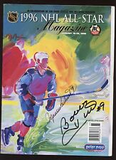 1996 NHL AS Game Program Maurice Richard & Bobby Hull Autographed Hologram