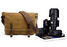 Khaki Men's Vintage Canvas Leather Camera Bag Shoulder Messenger Bag For Canon
