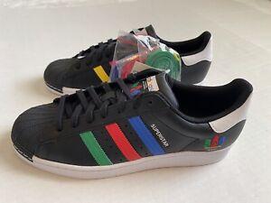 Adidas Originals Superstar FU9520 Black Green Blue Red Sneakers Men's Size 10.5