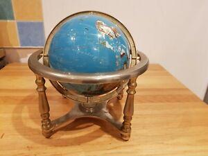 Vintage world globe brass stand semi precious gemstone LARGE