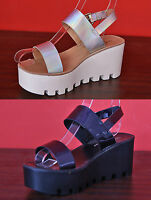 NEW WOMENS EVENING CHUNKY CLEATED WEDGE PLATFORM SUMMER BEACH SANDALS SIZE 3-8