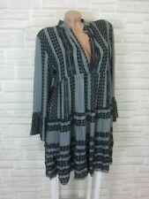 Blogger Hängerchen Kleid Tunika Volant Print 36 38 40 Schwarz Grau K213 Italy