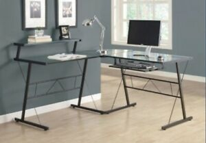 Monarch I-7172 Black Metal L Shaped Computer Desk w Tempered Glass  **NEW**