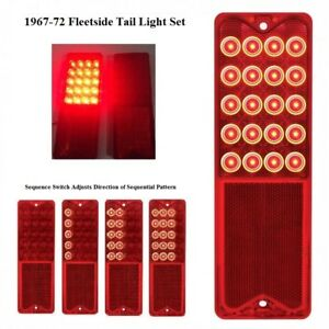Pair of Sequential LED Tail Lights for 1967-1972 Chevy Fleetside Trucks