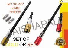 2 libération rapide porte-embout Set 60 & 150 mm rouge ou or AEG Ryobi hilti Pan...