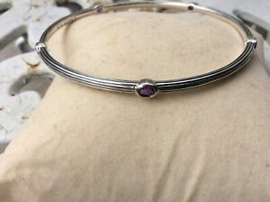 Lagos Sterling SilverAmethyst Fluted Station Bangle  New medium size 7.5 inches