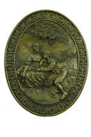 Vintage Bronze Wall Plaque in High Relief Woman and Man Signed Patoue - Cast Bas