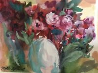 Modern Contemporary 8x10 Millie Gift Smith Watercolor Floral Vase