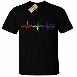Rainbow Heartbeat T-Shirt Mens lgbtq+ gay pride heart lesbian trans bi queer