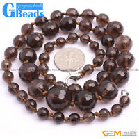 6-14mm Handmade Graduated Faceted Round Stone Beaded Fashion Necklace 18-22 Inch