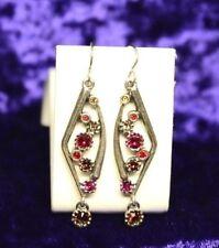 $130 Patricia Locke Silver Plate Air Earrings in FLIRT Swarovski Crystals NWOT