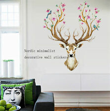 3D Sika Deer Flower Bird Tree Removable Wall Sticker Mural Decal Home Art Decor