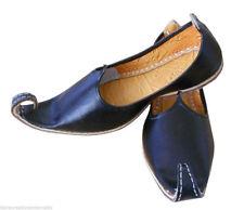 Indian Men Shoes Handmade Leather Mojari Black Punjabi Khussa Flip-Flops US 8-11