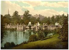 Kensington Gardens the fountains London Vintage photochrome print ca. 1890
