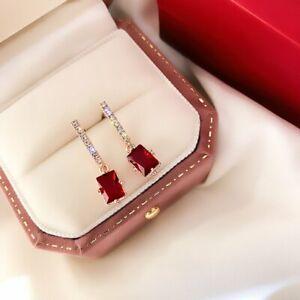 Fashion Square Waterdrop Zircon Drop Dangle Earrings Stud Women Party Jewelry