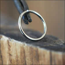 14k Carat Nose Ring Genuine White Gold Earring Lip Seamless Hoop 18g 8mm