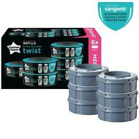 6 x Tommee Tippee Sangenic Twist & Click Advanced Nappy Disposal Refill Cassette
