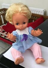 Vintage Pallitoy 1970's Tiny Tears  Baby Toddler Doll Original Gingham Clothing