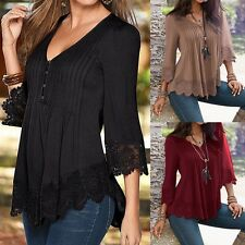 S-5XL Damen V Neck Tops Bluse Spitze Floral Crochet Irregular Pleated Oberteile