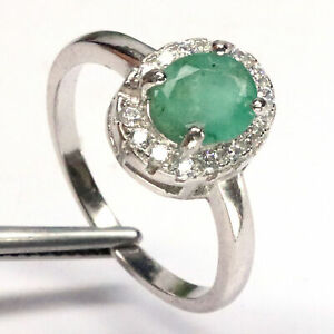 NUTURAL 6 X 7 mm. OVAL GREEN EMERALD & WHITE CZ RING 925 STERLING SILVER