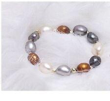"12mm natural south sea genuine white black multic potato pearl bracelet 7.5-8"""