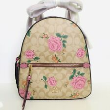 Coach Jordyn Backpack Signature Canvas Leather Prairie Rose Floral Bag 3011