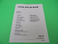 STIHL CHAINSAW 041 041AV  MANUAL PARTS LIST   -------- DRAWER41