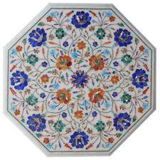 "15""x15"" Side Corner Marble Table Top Pietra Dura Inlay Art"