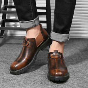 Retro Mens Leisure Leather Shoes Round Toe Slip on Non-slip Business Outdoor New