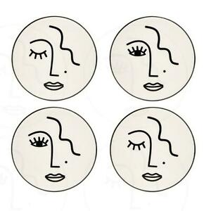 Sass & Belle Abstract Face Coasters Set Of 4 Porcelain Drinks Mats Gift Boxed