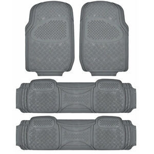 All Weather Heavy Duty 3 Row 4 PC Gray Rubber Floor Mats and Cargo Liner