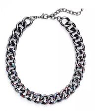 Nordstrom Women's Hematite Multi Color Encrusted Chain Collar Necklace 22274