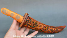 Collect chinese old bone carve lucky dragon and phoenix Exquisite dagger stylet