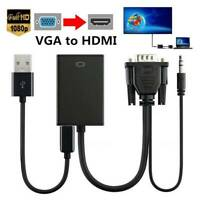 VGA Male to HDMI Female Output HD 1080P HDTV Audio Video Cable Converter Adapter