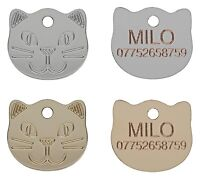 Cat Collar ID Tag, Pet Tags, 22mm Cat Face Design Engraved Free, Brass Or Nickel