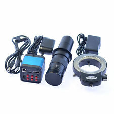 14MP HDMI USB Industry 180X C-mount Microscope Camera TF Video Recoder 144 LED