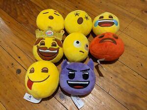 Set Of 8 Burger King Emoji Ball Plushies Collectables 2015 to 2019