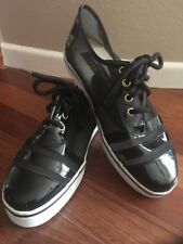 New STUART WEITZMAN Black Patent Leather / Mesh Fashion Sneaker Sz 8 Org $118