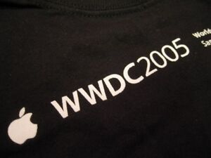 APPLE logo WWDC 2005 XL T-SHIRT Black Developer SF tee STAFF Extra Large tee EUC