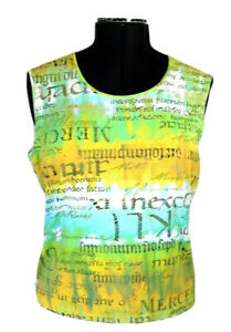 Yessica C&A Women's XL Tank Top, Yellow, Green & Blue Animal, Reptile Lettering
