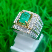 2.10CT ROUND DIAMOND 14K WHITE GOLD REAL EMERALD GEMSTONE COCKTAIL RING FOR MEN