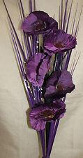 Artificiales De Seda Morado Poppy ramo de flores con césped 80cm Listo Para Su Florero