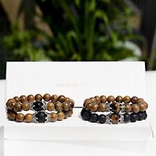 "Double Crown Wood Bracelet Natural 8mm Round Beads Stretch Bracelet 7.5"" Unisex"