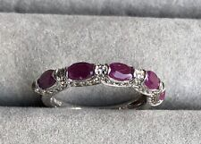 Sterling Silver 5 Stone Ruby Band Ring Size 8 HSN Colleen Lopez Collection